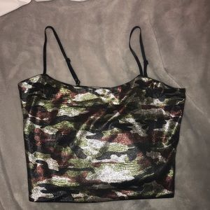 I Am Gia Camo crop top